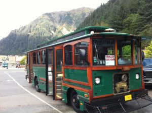 One of the stars of Juneau: our antique trolley!